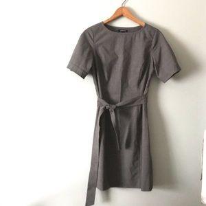 Landsend Petite Sleeve Dress Travel Gray Belted